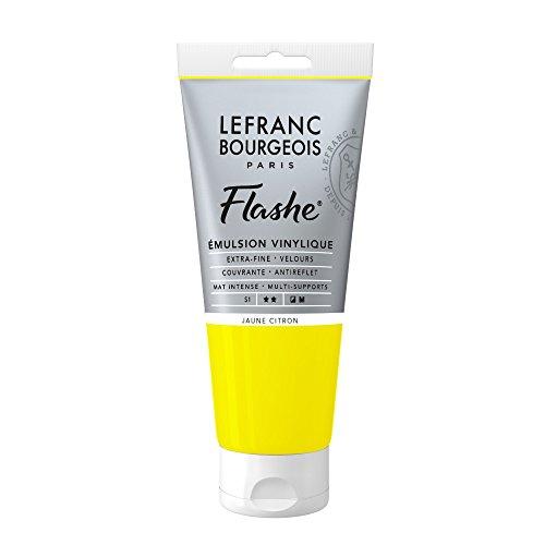 Lefranc & Bourgeois Flashe acrílica, Pintura vinílica, Amarillo limón, 80ml Tube - Vinylfarbe