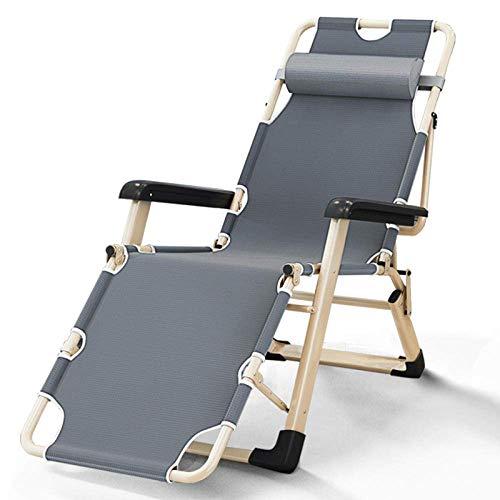 HHTX Zero Gravity Locking Patio Outdoor Lounger Chair, Leichter Klappstuhl, Metall Klappbarer Camping Gartenstuhl, Outdoor Schwereloser Stuhl-Grau