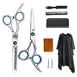 Linyexiaobi 理髪はさみキット 美容師はさみセット10ピース ヘアカットセット/間引き鋏/カミソリの櫛 クリップ、ショール ハサミウォレット 理髪ハサミセット、美容師セット、アップグレードされたプロのヘアカットセット