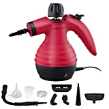 Product Image of the Handheld Steam Cleaner by Comforday - Multi-Purpose Pressurized Steam Cleaner with Safety Lock for Stain Removal, Carpet and Upholstery Cleaning - 9-Piece Accessory Kit Included (Upgrade) (red)