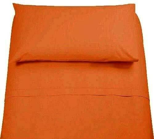 LENZUOLA Set Completo 100% Cotone 1 Piazza E Mezza Tinta Unita Vari Colori sotto sopra + Federa Offerta … (Arancione)