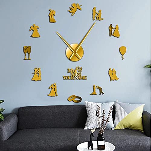 LTMJWTX Pareja de Amantes comprometidos, decoración de Arte de Pared para Fiesta de Boda Personalizada, Reloj de Pared Grande, Reloj de Pared Grande Personalizado, Regalo de San Valentín-47inch