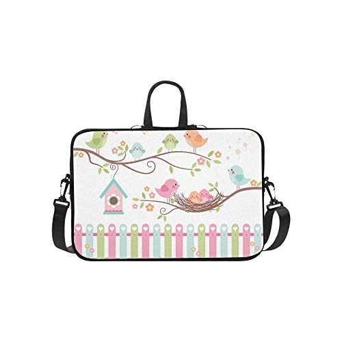 Laptop Sleeve Best Nest Cute Birds On Branches Waterproof Laptop Shoulder Messenger Bag Pouch Bag Case Tote with Handle Fits 14 Inch Netbook/Lapto