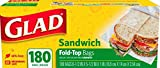 Glad 60771 Fold-Top Sandwich Bags, 6 1/2 x 5 1/2, Clear, 180 per Box, 12 Pack