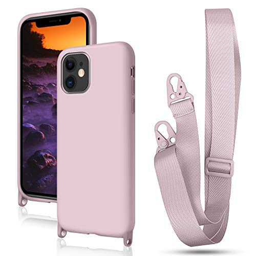 Greneric Handykette Hülle für iPhone 12/12 Pro 6.1'', Necklace Hülle Nylon Schultergurt Weich Silikon Handyhülle mit Kordel zum Umhängen Schutzhülle mit Stylische Band, Rosa