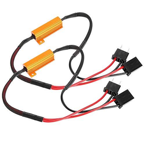 Decodificador de faros LED, decodificador de resistencia de carga, 2 piezas, decodificadores LED de coche para faros delanteros H7, Anti Hyper Flash, sin error, cableado de resistencia de carga