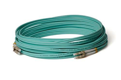 CONBIC® LWL Glasfaser-Kabel – 50m OM3 LC auf LC Stecker, Duplex 50/125 Patchkabel – Lichtwellenleiter 50 Meter (Indoor Cable)