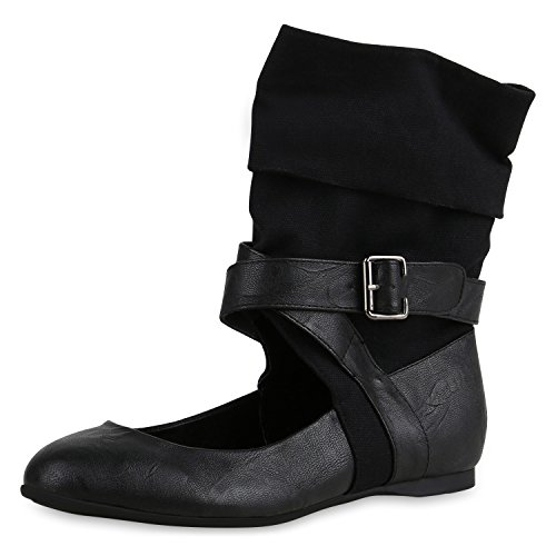SCARPE VITA Extravagante Damen Stiefeletten Stulpen Cut-Outs Sock Boots Flats 164398 Schwarz Cut-Outs 40