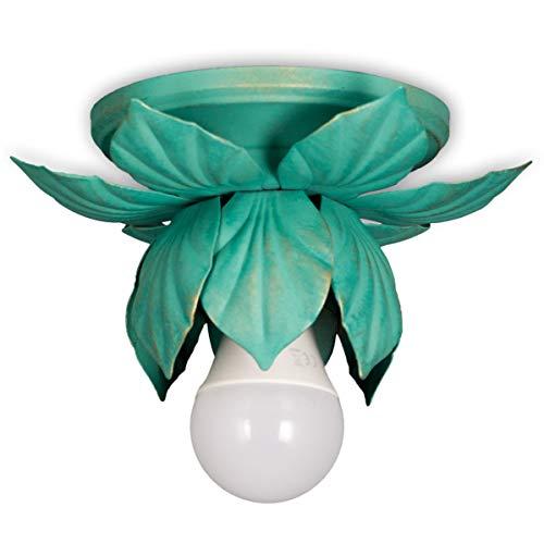 Helios Leuchten 8197 Florentiner LED Deckenleuchte grün | florale Lampe Leuchte | Blätter Deckenlampe Landhausstil | einflammig
