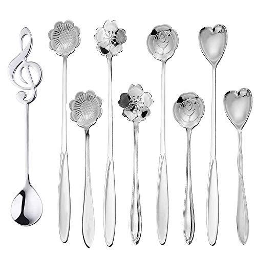 Flower Spoon Set 9 Pcs Tea Scoops Stirring Spoon Coffee Spoon Mixing Spoon Stainless Steel Reusable Spoon for Stirring Drink Sugar Dessert Cake Milkshake Jam Silver