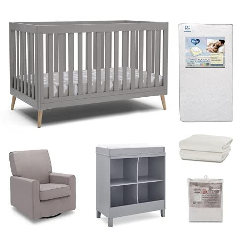 Delta Children Essex 6-Piece Baby Nursery Furniture Set – Includes Convertible Crib, Changing Table/Bookcase, Glider, Crib Mattress, Crib Sheets & Mattress Pad Cover, Grey/Natural/Flax