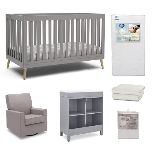 Product Image of the Delta Children Essex 6-Piece Baby Nursery Furniture Set – Includes Convertible...