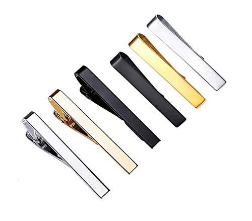 Sheng Xuan 6 Piezas Pulido Hombre Pasador de Corbata 4.3CM para Pisacorbatas Hombres y Día de Padre Regalo Latón de Clip Corbata/Accesorio de Estilo y Must de Elegante