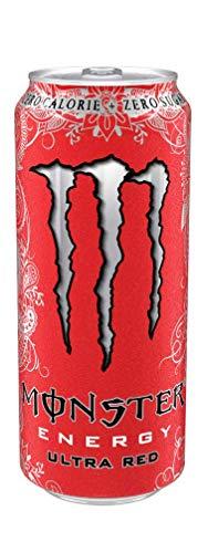 48x Monster Energy Ultra Red Energiegetränk mit roten Früchten Kein Zucker und keine Kalorien 500ml alkoholfreies Getränk Erfrischungsgetränk Sportgetränk