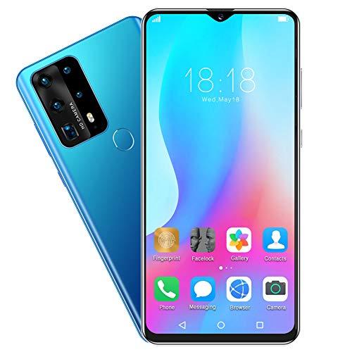 Smartphone, Reconocimiento Facial de Huellas Dactilares de 6.8IN, 128GB, 6GB RAM, Dual Sim, Smartphone Nightfall 3.5D, Batería de 4800mah, Teléfono móvil para Android(EU)