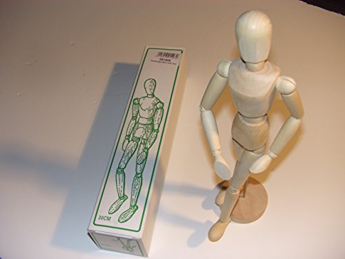 RotbArt Mannequin articulé féminin en bois de hêtre huilé, hauteur env. 30 cm