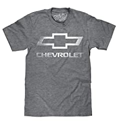 YOUR NEW FAVORITE CHEVY SHIRT WITH A COOL RETRO LOOK: Enjoy the nostalgia of the classic Chevrolet bowtie logo - distressed and printed on the softest, Graphite Heather tee we could find. FUN GIFT FOR THE CHEVY FAN IN YOUR LIFE: Licensed and screen p...