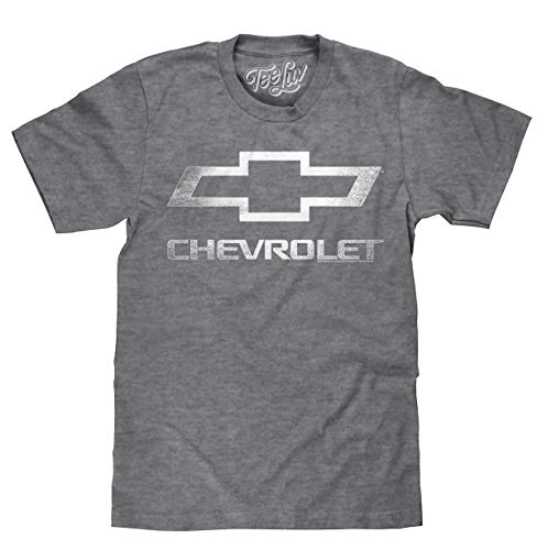 Tee Luv Chevrolet Shirt - Licensed Distressed Chevy Bowtie Logo T-Shirt (Graphite Heather) (XL)