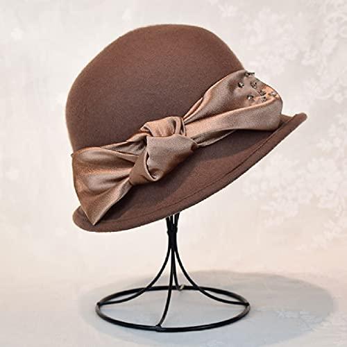 AAKKY Autumn Winter Lady Autumn and Winter Caps Women Wool Vintage Felt Fedora Hat Woolen Hat (Color : Camel, Size : 56-58cm)