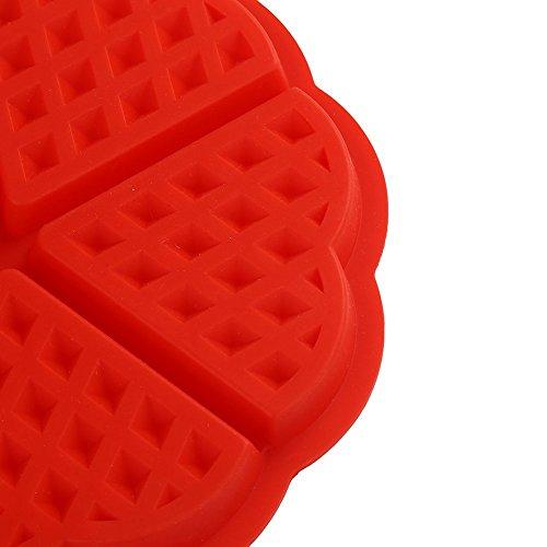 taonaisi bakeware moule a gâteaux de gaufre de silicone de haute qualité moule pour muffins de moules de Waffle du coeur, rouge