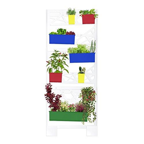 Jardin vertical en métal pour plantes avec système de récupération de l'eau superflue. Jardinière avec pots pour plantes, conçue pour le réutilisation et recyclage de l'eau en excès Par tuyaux de drainage. Structure verticale modulaire et facile à installer. Design moderne, simple et innovant. Mural Vert Vertical pour balcons, maison ou terrasses. B10 minimaliste vertical garden – Elite Pop Edition – Dim 804 x 1975 x 190 mm – Couleur Blanc + Pots Pop (jaune – rouge – bleu – vert)