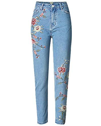 Orandesigne Vaqueros De Mujer Bordado Floral Pantalones Pitillo De Corte Slim Jeans De Cintura Alta Para Mujer Pantalones Rectos De Cintura Alta Vaqueros