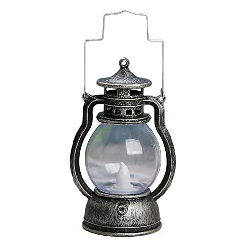 MagiDeal Vintage rústico acento antiguo lámpara colgante lámpara de aceite bombilla LED mesita de noche mesa de escritorio lámparas para habitación de estudio - Plata bronce