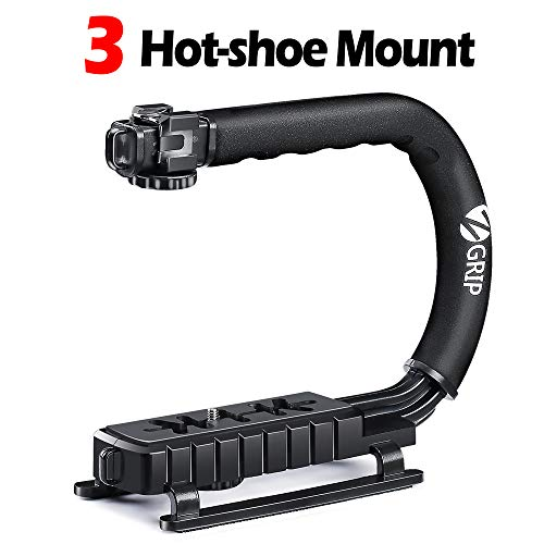 Zeadio Triple Hot-Shoe Mounts Handheld Stabilizer, Video Stabilizing Handle Grip for Canon Nikon Sony Panasonic Pentax Olympus DSLR Camera Camcorder