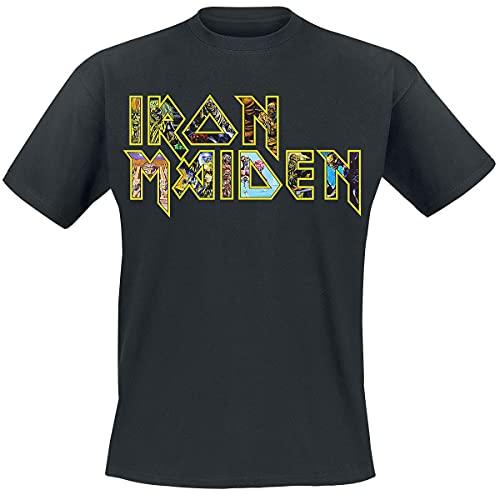 Iron Maiden Eddies Logo Männer T-Shirt schwarz L 100% Baumwolle Band-Merch, Bands