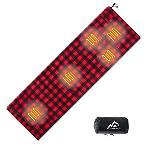 Mantuole Heated Sleeping Bag Liner, Heated seat Cushion, 5pcs Multi USB Power Support Heating Pads, Operated by Battery Power Bank or Other USB Power Supply, Compact Bag Included.