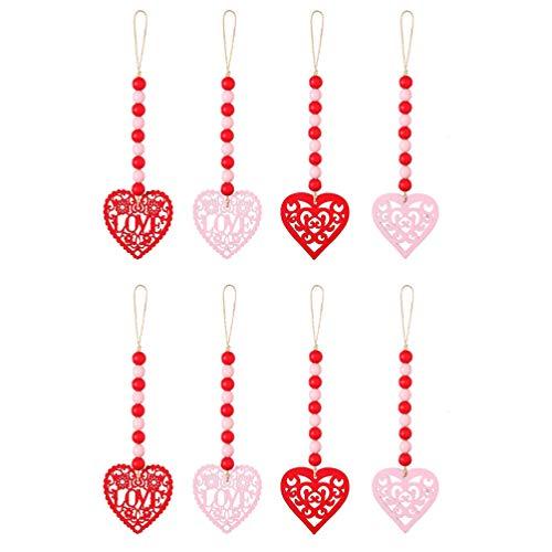 Veemoon 8 Piezas de Guirnalda de Cuentas de Madera Del Día de San Valentín Colgantes de Madera Adornos de Corazón Del Amor para La Boda Casa de La Oficina Casa de Campo Rústico