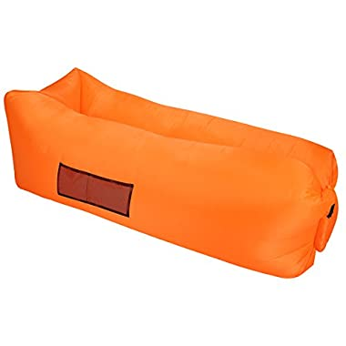 HOQI Inflatable Lounger Hammock Air Sofa Ideal Summer Gift Indoor Outdoor Use Side Pocket Carry Bag Lightweight Oxford Nylon Camping Picnics Festivals (Orange)