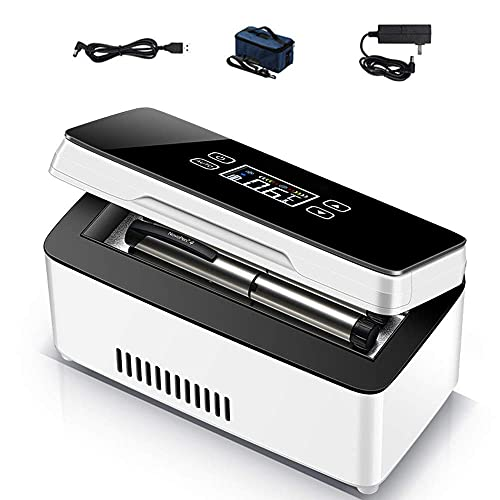 Enfriador de insulina portátil, frigorífico pequeño, Pantalla LED, frigorífico para medicamentos, frigorífico USB para Viajes, frigorífico para Coche con batería de Reserva de 12 h, Juego de 4, bater