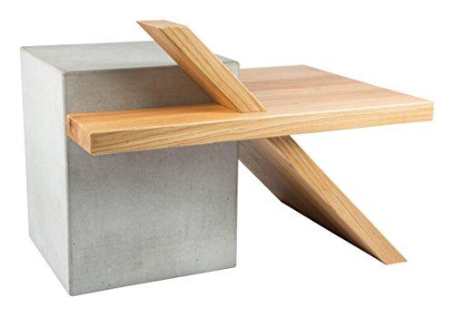 CARVIDO Benola extravaganter Design Couchtisch und Beistelltisch aus Beton und Eiche Massivholz/Betonmöbel, Natur, 70.0 x 50.0 x 50.0 cm