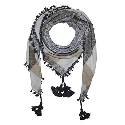 Superfreak Stilvoll detailliertes Tuch im Pali-Look - PLO Schal - 120x120 cm - Pali Palästinenser Arafat Tuch - 100{385b527c3488861a12fbadf759d2c8669f069ba5e964b7756c66d06fdb89b49e} Baumwolle Farbe: weiß-grau - Muster 3