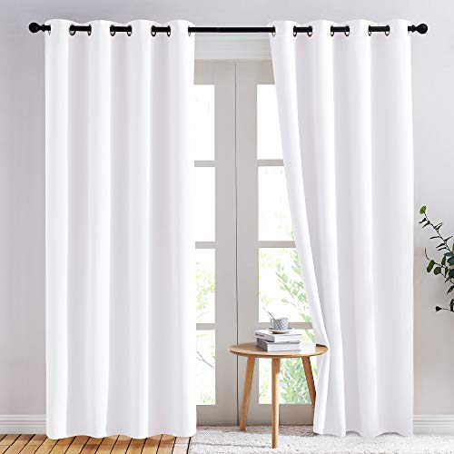 NICETOWN Curtains 84 inches Long - (Pure White) 52 by 84 inches, 1 Pair, 50% Light Blocking Grommet Drapes/Draperies for Living Room