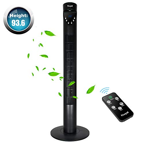 Kuyal Tower fan 36 Inch, Floor Fan With Remote Control - Oscillating, Portable, 3-Speed & 3-Wind Mode, 12 Hour Timer -50W