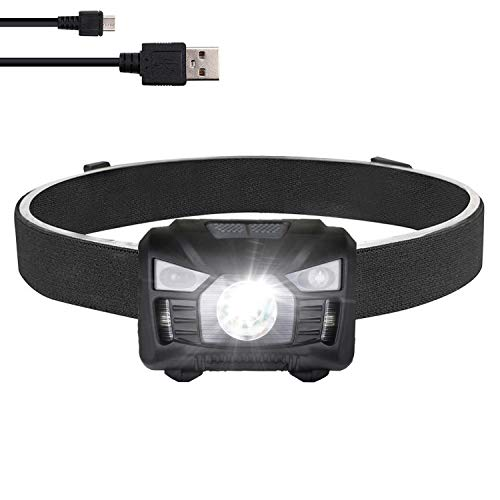 Rechargeable Headlamp Waterproof,H60 Pro High 650 Lumens Cree LED Usb Head Lamp for Fishing Hiking Running.White Red Spot Flood Beam,Motion Sensor,Adjustable Headband for Adults Kids