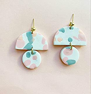 terrazzo Clay and Earrings/Modern Abstract Dangle earrings/Lightweight Dangle and drop Hypo-allergenic statement earrings/gift for her