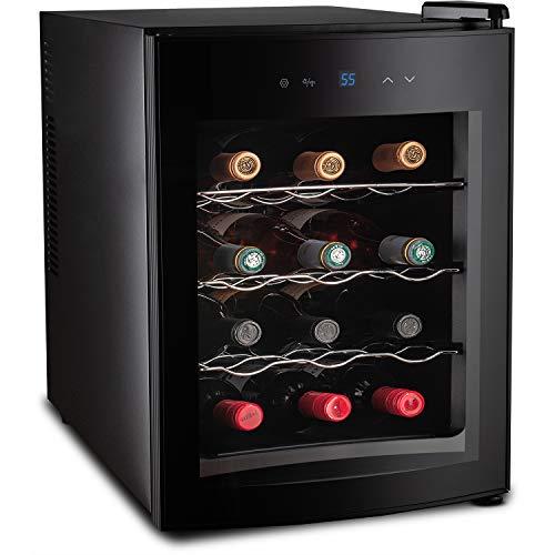 Belwares 12 Bottle Wine Cooler - Countertop Wine Chiller Thermoelectric Refrigerator with Digital Temperature Display - Freestanding Refrigerator Smoked Glass Door and Quiet Operation