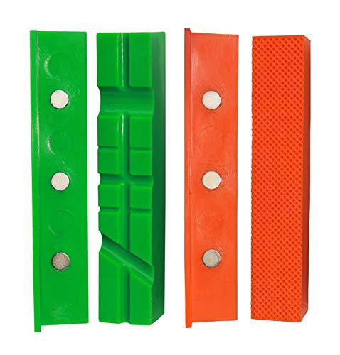 Mordazas protectoras para tornillo de banco | Grip & Bender 150 mm | Juego de 4 | Magnéticas | Mordazas protectoras de plástico TPU | Estas mordazas tensoras protegen tu pieza de trabajo | (158 mm)