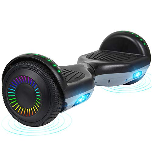"""CBD 6.5"""" Two-Wheeled Hoverboard, Bluetooth Speaker Self Balancing Hoverboard w/LED Flash Wheels, UL2272 Certificated Hover Board for Kids Adult (Black Gray)"""