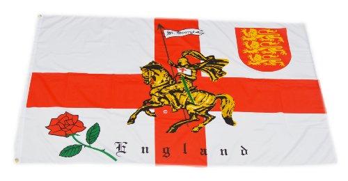 Original Handycop® Flagge Fahne F91584 England Ritter mit Pferd und Rose 90 x 150 cm - wetterfeste Qualität