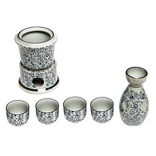JY&WIN Exquisito Juego de Sake japonés de Flores Azules de cerámica, el Hermoso patrón Pintado a Mano, Las líneas Son Redondas y Suaves El diseño es Generoso, para entretener su Cena