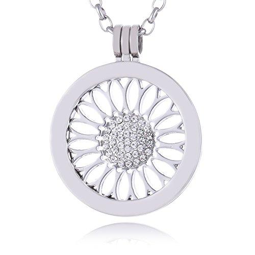 Morella Mujeres Collar 70 cm Acero Inoxidable con Amuleto y Colgante Coin 33 mm Girasol Plateado en Bolsa de la joyería