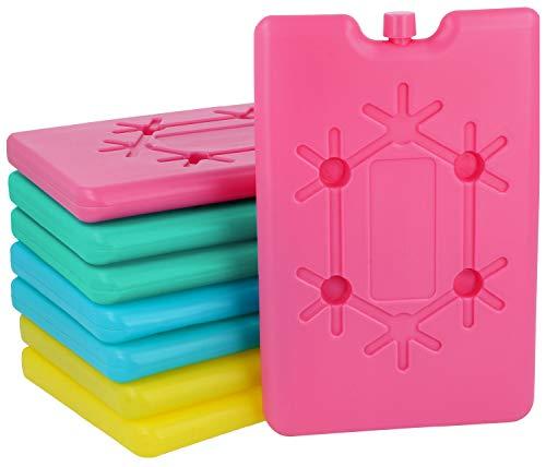com-four® 8X Pack frigo Extra Piatto - salvaspazio e Ideale per frigo e Borsa frigo - Elemento Cool in Colori Vivaci [la Selezione Varia] (08 Pezzi - Piccoli)