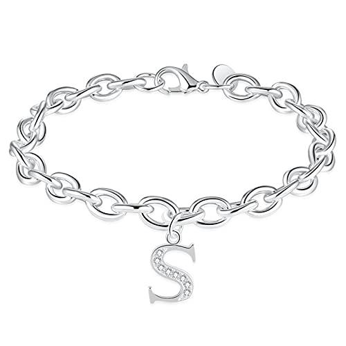1 pulsera de plata con diseño de letra S y diamantes de imitación delicados hechos a mano para el día de la madre