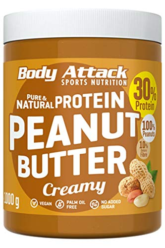 Body Attack Peanut Butter Natural 30% Protein Sugar & Fat Free Smooth Creamy 1 kg