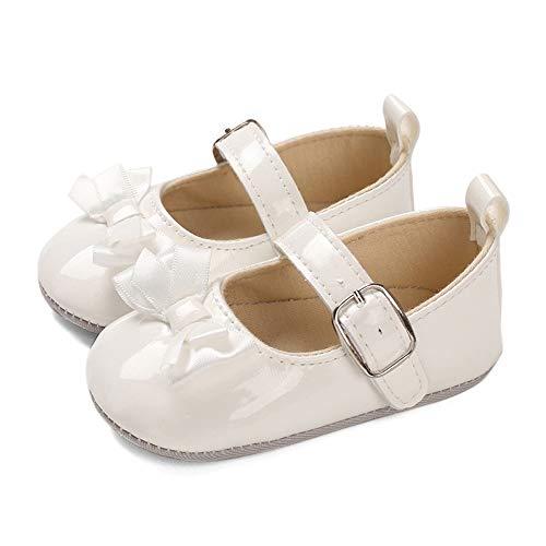 LACOFIA Baby Ballerinas Krabbelschuhe Kleinkind Mädchen rutschfest Bowknot Prinzessin Mary Jane Schuhe Weiß 3-6 Monate