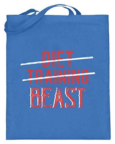 SPIRITSHIRTSHOP Diet Training Beast - Gesund Essen, Trainieren, Fressen - Jutebeutel (mit langen Henkeln) -38cm-42cm-Blau